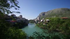 Mostar Bosnia and Herzegovina, old bridge Stock Footage