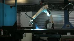 Robotic welding in metal or steel plant Stock Footage