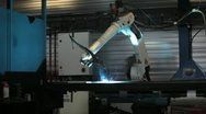 Stock Video Footage of robotic welding in metal or steel plant