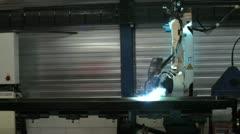 robotic welding arm timelapse - stock footage