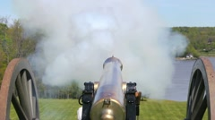 American Civil War Cannon fires in slow motion with dolly move Stock Footage