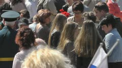 Crowd at the memorial in 1200 guards - stock footage