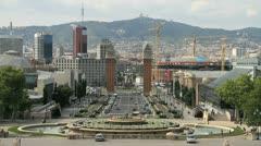 Barcelona viewed from the Palau Nacional Stock Footage