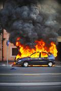 Car Burning Explosion - stock photo