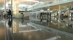 Airport Terminal with mirror floor Stock Footage
