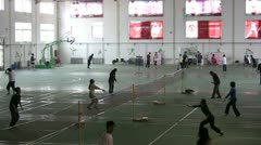 Badminton playing hall, sports, university, students, China, Chinese Stock Footage