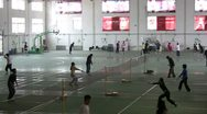 Stock Video Footage of Badminton playing hall, sports, university, students, China, Chinese