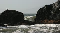 Waves Crashing Against Rocks - stock footage
