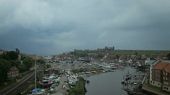Whitby harbour in the UK where Dracula landed Stock Footage