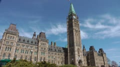 Canadian Parliament Building Exterior Time Lapse - stock footage