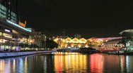 Stock Video Footage of Night time lapse of Clarke Quay in Singapore