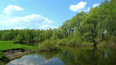 Spring landscape of small rivers. Stock Footage