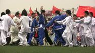 Stock Video Footage of Martial arts performance at a university campus in China