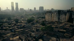 Mumbai city slum with tilt-shift effect. - stock footage