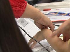 Child gets fingerprinted Stock Footage