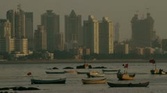 Mumbai skyline at sunset. Stock Footage