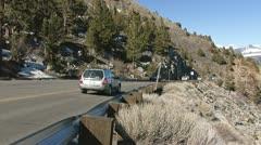 Traffic in the High Sierra Nevada Mountain Roads Stock Footage