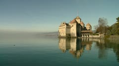 Chillon Castle on the Shores of Lake Geneva Stock Footage