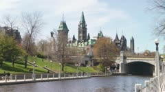 Time Lapse Rideau Canal And Canadian Parliament Buildings Summertime Ottawa Stock Footage