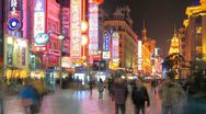 Stock Video Footage of Extremely busy Nanjing Road, pedestrian mall, Shanghai, China, time lapse