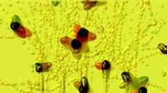 Splash watercolor ink particles & joy insect,fairyland scene. Stock Footage