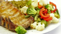 DOLLY:  Fried Pork Ribs With Vegetables Stock Footage