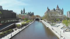 Rideau Canal With Views Of The Chateau Laurier And Canadian Parliament Buildings Stock Footage
