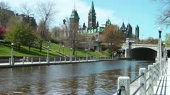 Rideau Canal And Canadian Parliament Ottawa Stock Footage