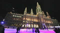 Winter night in front of Vienna Rathaus - stock footage