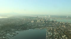 Aerial Approach to Seattle and Space Needle on Calm, Smoggy Day Stock Footage