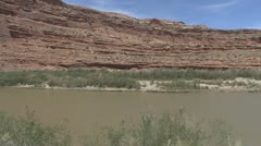 P01931 Colorado River and Bluffs from Moving Vehicle - stock footage