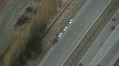 DUI Arrest by Highway Patrol - Aerial View Stock Footage
