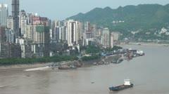 Yangtze river, mountains, and Chongqing skyline Stock Footage