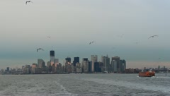 NYC lower Manhattan skyline from ferry-6 - stock footage