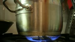 Stove fire cooking water Stock Footage