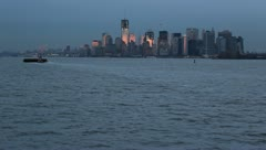 NYC lower Manhattan skyline from ferry-7 - stock footage