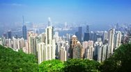 Stock Video Footage of skyline of Hong Kong city from victoria peak. time lapse