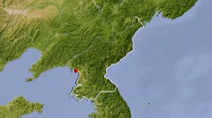 North Korea, zooming into large view Stock Footage