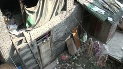 Tilt view of a slum area in the heart of Chongqing, China Stock Footage