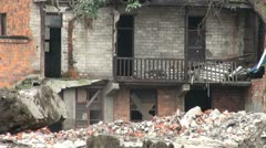 Zoom out of a destroyed home in the city of Chengdu, China Stock Footage