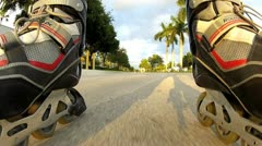 Rollerblades in action - stock footage