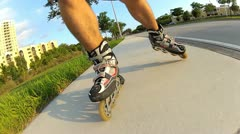 Person rollerblading Stock Footage