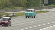 Stock Video Footage of Blue VW Baywindow Bus on Freeway Driving