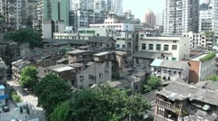 'Flying' over an old part of Chongqing in China Stock Footage