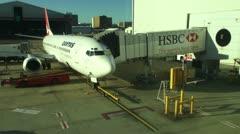 QANTAS 737 at terminal - stock footage