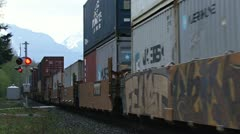 Freight Train Rushing Past in British Columbia Stock Footage