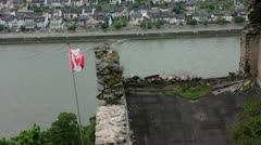 Canadian Flag at Rhine, Germany Stock Footage