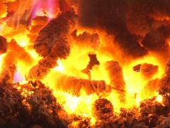 burn straw pellet boiler - stock footage