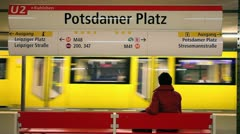 Modern subway station, Berlin, Germany, Europe - stock footage