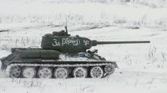 Legendary Russian Tanks T34 in snowy weather Stock Footage